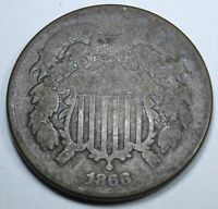 1866 TWO CENT PIECE 2 PENNY US ANTIQUE CURRENCY OLD VINTAGE U.S. COIN COLLECTION
