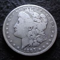 1893-O MORGAN SILVER DOLLAR - SOLID VG DETAILS KEY FROM THE NEW ORLEANS MINT