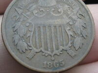 1865 TWO 2 CENT PIECE- VG/FINE DETAILS- PARTIAL WE