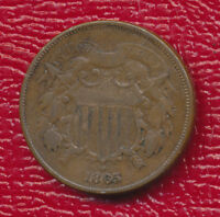 1865 TWO CENT PIECE U.S. CIVIL WAR ERA TYPE COIN SHIPS FREE