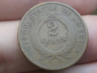 1869 TWO 2 CENT PIECE- CIVIL WAR TYPE COIN- VG DETAILS