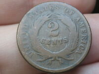 1864 TWO 2 CENT PIECE- CIVIL WAR TYPE COIN, FULL DATE