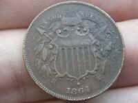 1864 TWO 2 CENT PIECE- LARGE MOTTO, VF/EXTRA FINE  DETAILS, PARTIAL WE
