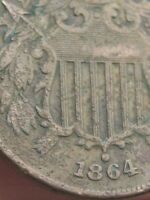 1864 TWO 2 CENT PIECE- LARGE MOTTO, METAL DETECTOR FIND? PARTIAL WE