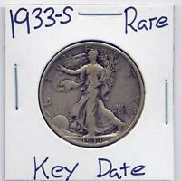 1933 S WALKING LIBERTY SILVER HALF DOLLAR US MINT  KEY DATE SILVER COIN