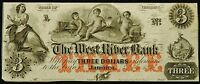 THE WEST RIVER BANK JAMAICA STATE OF VERMONT THREE DOLLAR NOTE 1860'S VF