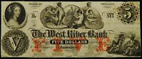 THE WEST RIVER BANK JAMAICA STATE OF VERMONT FIVE DOLLAR NOTE 1860'S  VF