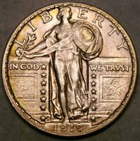 1919 D LIBERTY STANDING SILVER QUARTER APPEALING GORGEOUS FEATURES W/DIE BREAKS