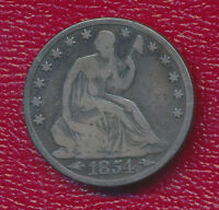 1854 O SILVER SEATED LIBERTY HALF DOLLAR   COOL NEW ORLEANS COIN