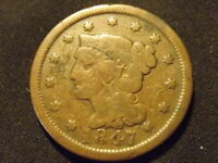 COLLECTIBLE UNITED STATES MINT 1847 BRAIDED HAIR LARGE CENT COIN COMPARES TO VG
