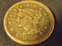 COLLECTIBLE UNITED STATES MINT 1856 BRAIDED HAIR LARGE CENT COIN COMPARES TO VG