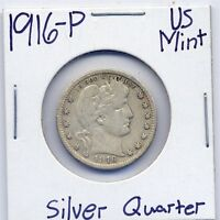 1916 P BARBER SILVER QUARTER DOLLAR US MINT SILVER COIN  ESTATE 90