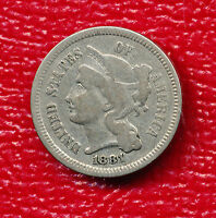 1881 THREE CENT NICKEL   NICELY TONED TYPE COIN