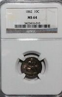 1882 SEATED LIBERTY DIME - NGC MINT STATE 64 - BEAUTIFUL TONING