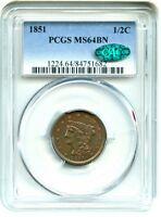 1851 1/2C PCGS/CAC MS64 BN   PRETTY TYPE COIN   HALF CENT   PRETTY TYPE COIN