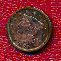 1844 BRAIDED HAIR LARGE CENT  CIRCULATED TYPE COIN SHIPS FREE