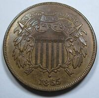 1865/1865 EXTRA FINE -AU RPD MINT ERROR US 1865 TWO CENT PIECE 2 OVER PENNY ANTIQUE COIN