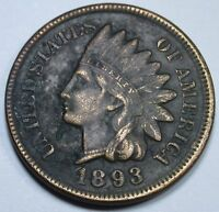 1893 AU 4 DIAMONDS US INDIAN HEAD PENNY CENT OLD ANTIQUE CURRENCY MONEY COIN USA