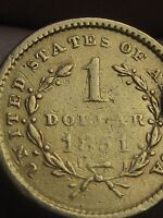 1851 $1 GOLD LIBERTY HEAD ONE DOLLAR COIN