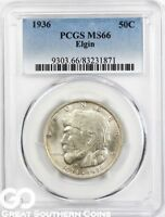 1936 PCGS ELGIN COMMEMORATIVE HALF DOLLAR PCGS MINT STATE 66