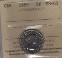 1959 CANADA FIVE CENTS COIN. ICCS MS 65 UNC