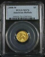2008 W $5 1/10TH OUNCE .9999 GOLD BUFFALO PERFECT GRADED PCGS MS70  TONE FREE