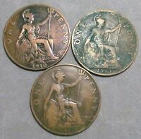 LOT OF 3 UK GREAT BRITAIN BIG PENNY COINS: 1910 1913 & 1917