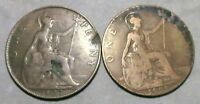 LOT OF 2 UK GREAT BRITAIN EARLY 1900S BIG PENNY COINS: 1907