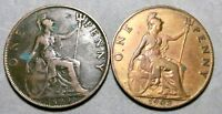 LOT OF 2 UK GREAT BRITAIN BIG PENNY COINS: 1899 & 1903 BRONZ