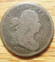 1804 DRAPED BUST HALF CENT   CROSSLET 4   WITH STEMS