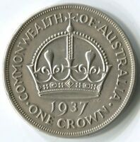 1937 CROWN FIVE SHILLING STERLING SILVER COIN   VERY FINE CO