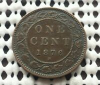 1876H  NICE DETAIL  CANADA BRONZE LARGE CENT QUEEN VICTORIA PENNY