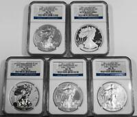 2011 5 COIN 25TH ANNIVERSARY SILVER EAGLE SET NGC MSPF7070707070 EARLY RELEASES