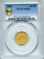 1852 $2.50 LIBERTY PCGS MS62   QUARTER EAGLE GOLD COIN  34282791  GOLD SHIELD