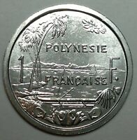 1982 FRENCH POLYNESIA 1 FRANC COIN SAILING BOAT UNC