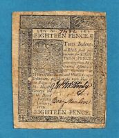 1776 18 PENCE DELAWARE COLONIAL CURRENCY FINE CONDITION SHARP NOTE