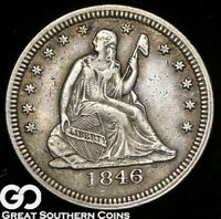 1846 SEATED LIBERTY QUARTER TOUGH SILVER TYPE BETTER DATE