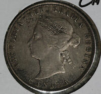 TOTALLY ORIGINAL BETTER CONDITION 1874H CANADA 25 CENTS SILVER COIN.
