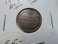 1899 CANADIAN SILVER 10 CENTS .LARGE 9.