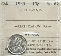 1930 CANADA 10 CENTS ICCS GRADED MS 62