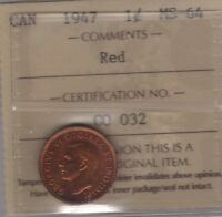 1947 CANADA SMALL CENT COIN. RED ICCS MS 64