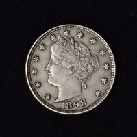 1898 5C LIBERTY HEAD V NICKEL VF UNITED STATES TYPE COIN