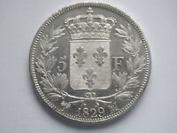 GORGEOUS SILVER CU 5 FRANCS CHARLES X MA MARSEILLE 1829 SUP