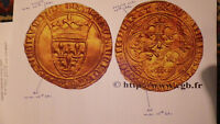 VERY RARE GOLD CHARLES VI CU OR  LA COURONNE 7TH ISSUE FEBRU
