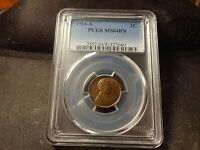 1916-S  PCGS BU MINT STATE 64 GLOSSY BROWN LINCOLN CENT COIN SLABZ