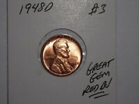 WHEAT CENT 1948D GREAT GEM RED BU 1948-D LOT 3 LINCOLN CENT RED UNC LUSTER