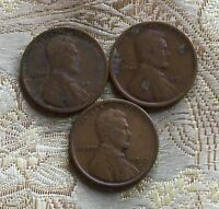 1919 P/D/S LINCOLN WHEAT CENT'S CIR. CONDITION  3 COIN'S