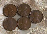 LOT OF FIVE LINCOLN CENT'S 1940-P,1944-P,1944-D,1946-P,1945-P