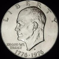 1976 D TYPE 2 REV CHOICE BU ALL WHITE EISENHOWER DOLLAR   @ CHERRYPICKERCOINS