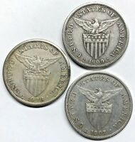 LOT OF  3  SILVER U.S. PHILIPPINES ONE PESO   1907 1908 1909
